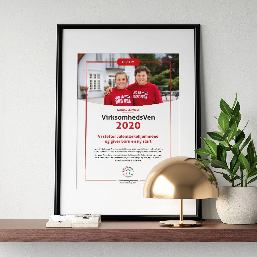 Virksomhedsven 2020 diplom til Julemærkefonden